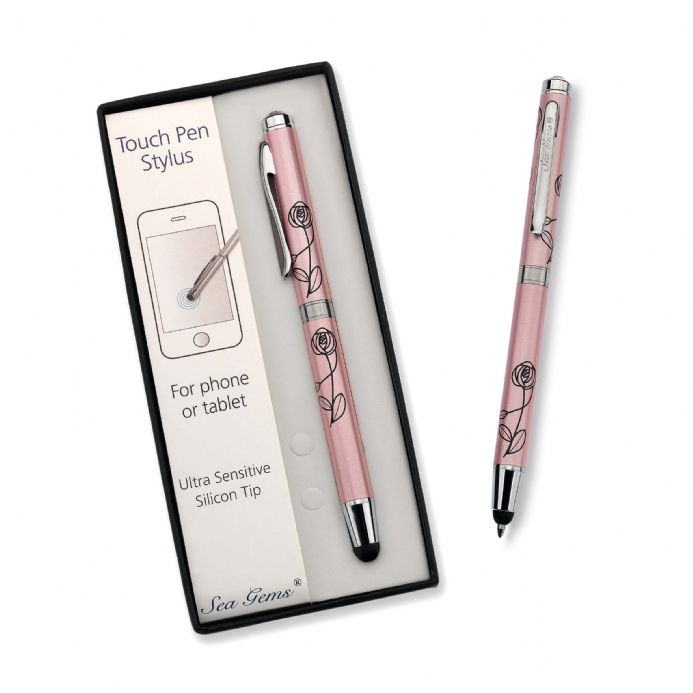 Large Ballpoint and Touch Pen Stylus, Pink Mackintosh Flower
